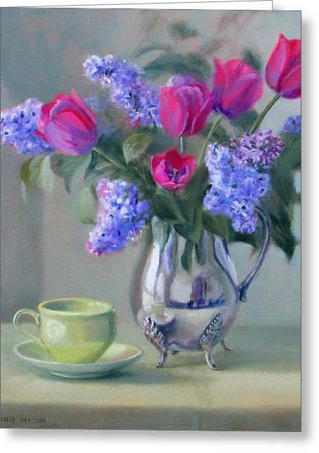Old Pitcher Greeting Cards - Heirlooms- Lilacs and Tulips in a Silver Pitcher Greeting Card by Bonnie Mason