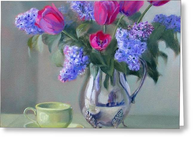 Silver Pitcher Greeting Cards - Heirlooms- Lilacs and Tulips in a Silver Pitcher Greeting Card by Bonnie Mason