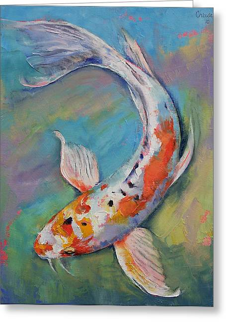 Coy Greeting Cards - Heisei Nishiki Koi Greeting Card by Michael Creese