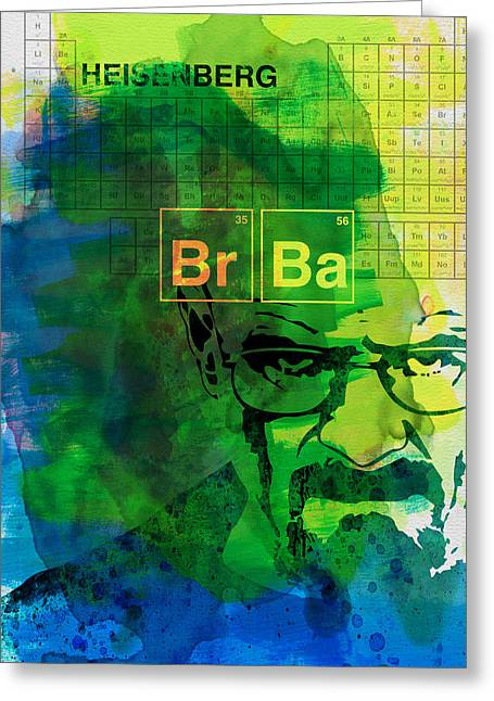 Series Paintings Greeting Cards - Heisenberg Watercolor Greeting Card by Naxart Studio