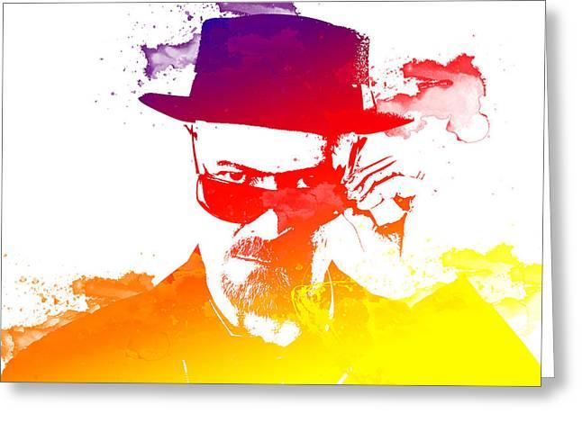 Heisenberg Prints Greeting Cards - Heisenberg Watercolour Greeting Card by Chris Smith