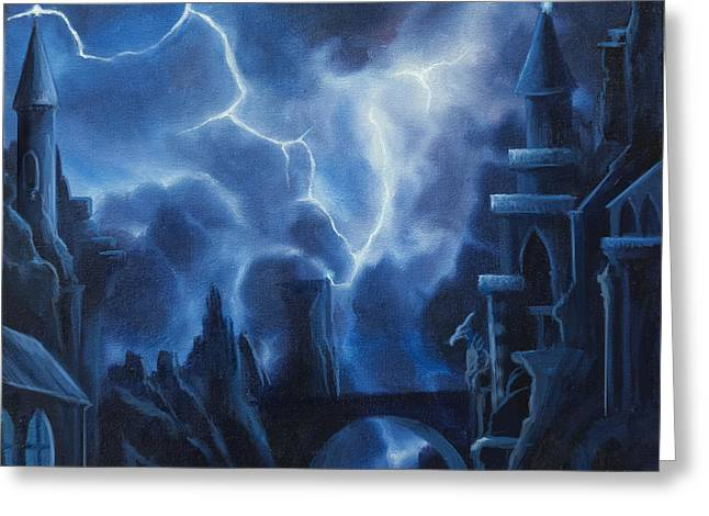 Thunderstorm Paintings Greeting Cards - Heisenburgs Castle Greeting Card by James Christopher Hill