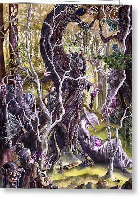 Fantasy Creature Greeting Cards - Heist of the Wizards Staff Greeting Card by Curtiss Shaffer