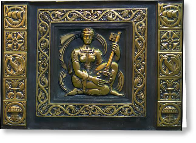 Engraving Greeting Cards - Hekate Bronze plate Greeting Card by Chris Flees