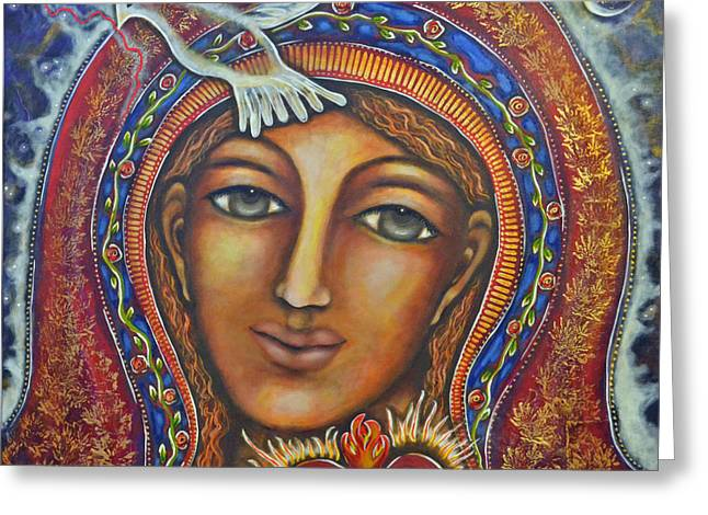 Visionary Artist Paintings Greeting Cards - Held in Her Heart Greeting Card by Marie Howell Gallery