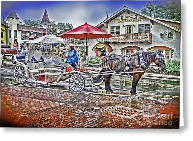 Horse And Buggy Greeting Cards - Helen Georgia Rain II Greeting Card by Patricia L Davidson