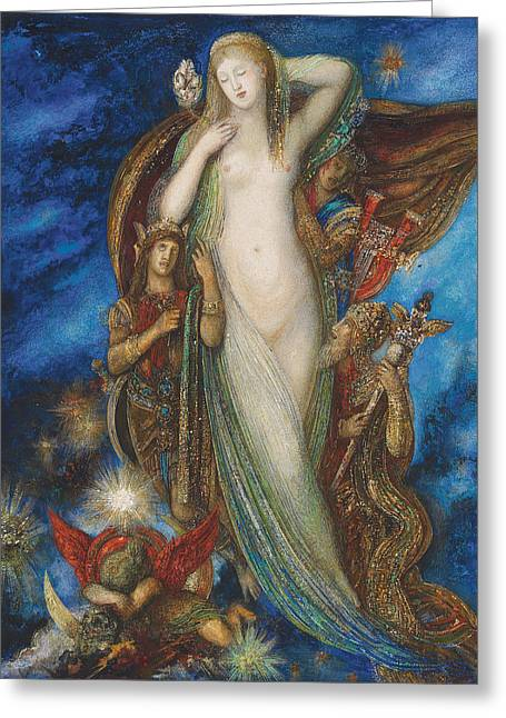 Gustave Moreau Greeting Cards - Helen Glorified Greeting Card by Gustave Moreau
