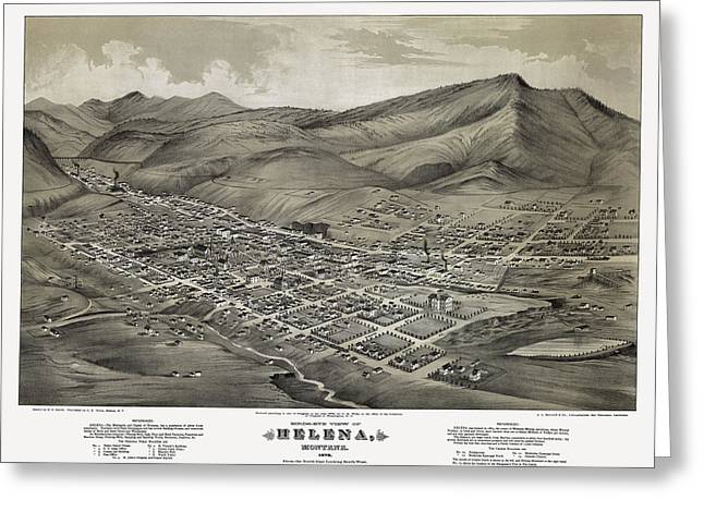 Watch Tower Greeting Cards - Helena Montana Map  1875 Greeting Card by Daniel Hagerman