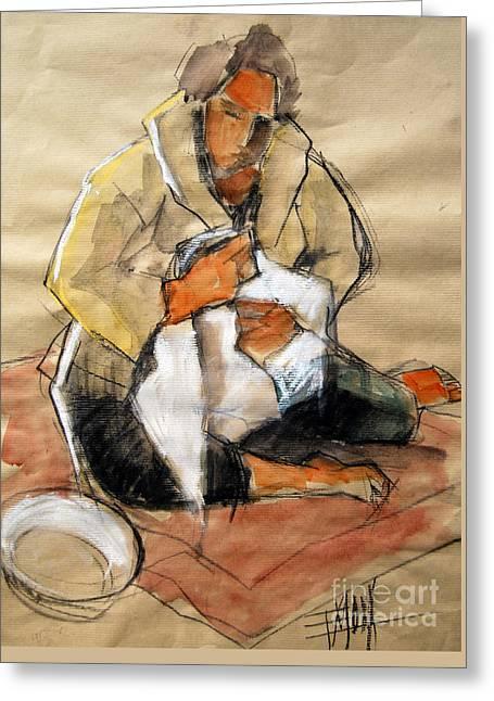 Blouse Greeting Cards - Helene #13 - figure series Greeting Card by Mona Edulesco