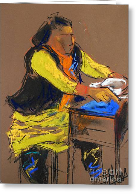 Figurative Pastels Greeting Cards - Helene #5 - figure series Greeting Card by Mona Edulesco