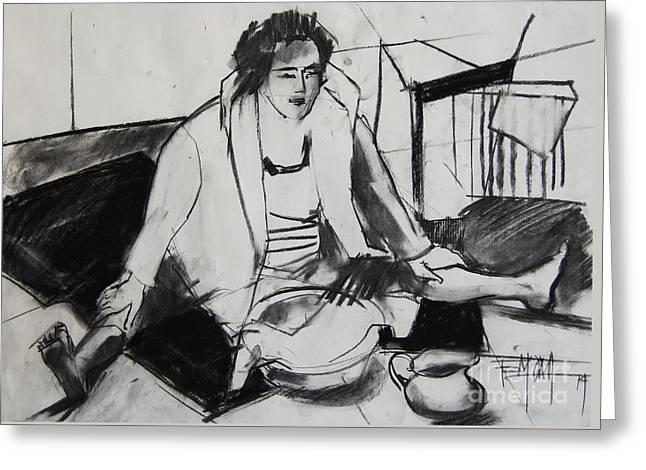 Helene #7 - Figure Series Greeting Card by Mona Edulesco