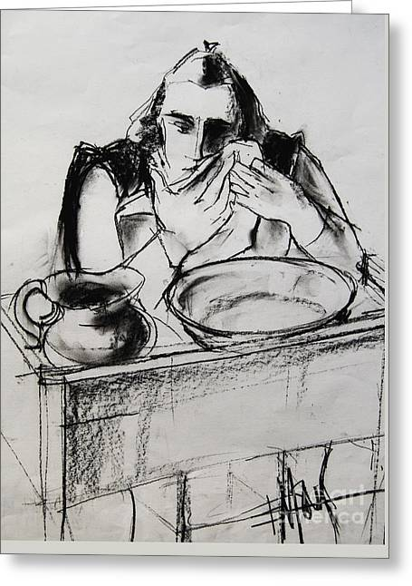 Model Drawings Greeting Cards - Helene #8 - figure series Greeting Card by Mona Edulesco