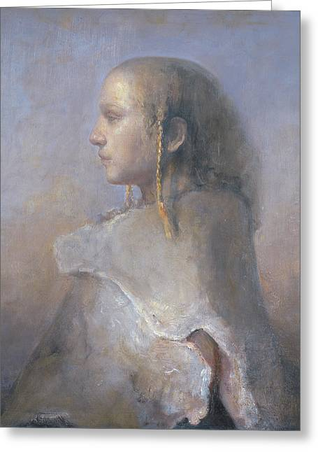 Picturesque Paintings Greeting Cards - Helene In Profile  Greeting Card by Odd Nerdrum