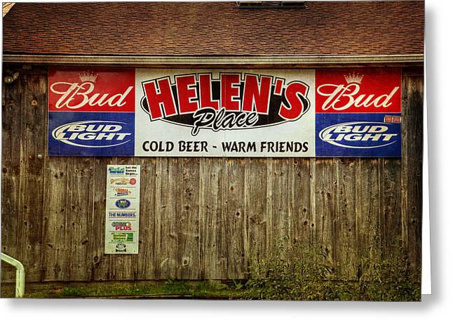 Wooden Building Greeting Cards - Helens Place Greeting Card by Joan Carroll