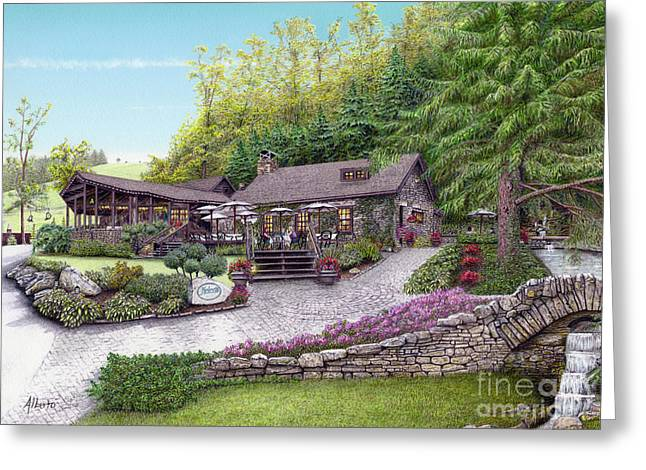 Stone House Drawings Greeting Cards - Helens Restaurant at Seven Springs Greeting Card by Albert Puskaric
