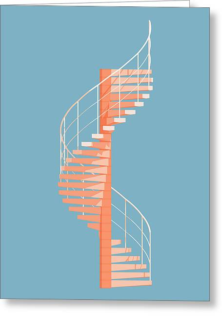 Illustration Greeting Cards - Helical Stairs Greeting Card by Peter Cassidy