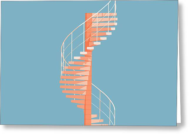 Helical Stairs Greeting Card by Peter Cassidy