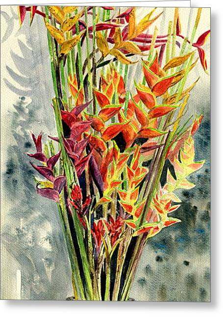 Sympathy Paintings Greeting Cards - Heliconia Bouquet Greeting Card by Melly Terpening