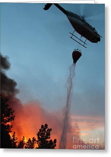 Greeting Card featuring the photograph Helicopter Drops Water On White Draw Fire by Bill Gabbert
