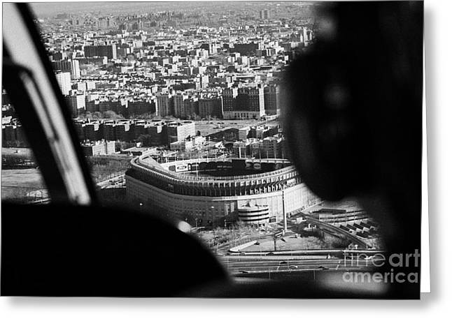 Manhaten Greeting Cards - Helicopter  Flies Over Yankee Stadium New York City Greeting Card by Joe Fox