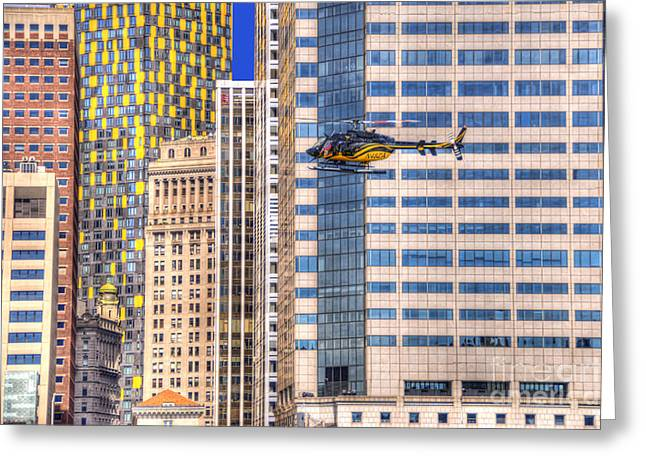 Helicopter Photographs Greeting Cards - Helicopter in the City Greeting Card by Juli Scalzi