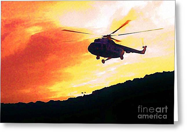 Halifax Art Galleries Greeting Cards - Helicopter Greeting Card by John Malone