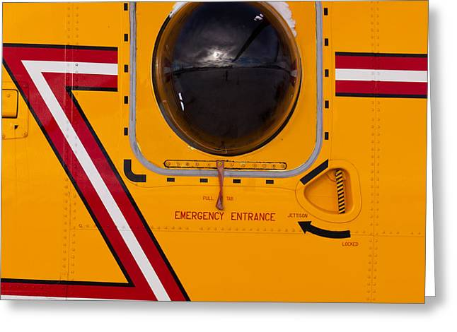 Scuttle Greeting Cards - Helicopter porthole window mirrors rotor blade Greeting Card by Stephan Pietzko