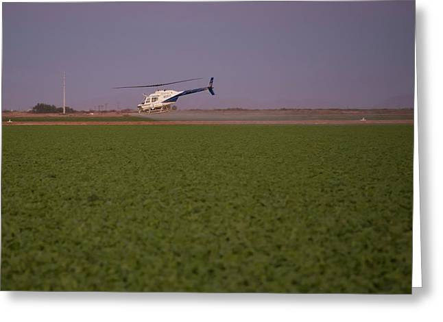 Helicopter Spraying Pesticides Greeting Card by Jim West