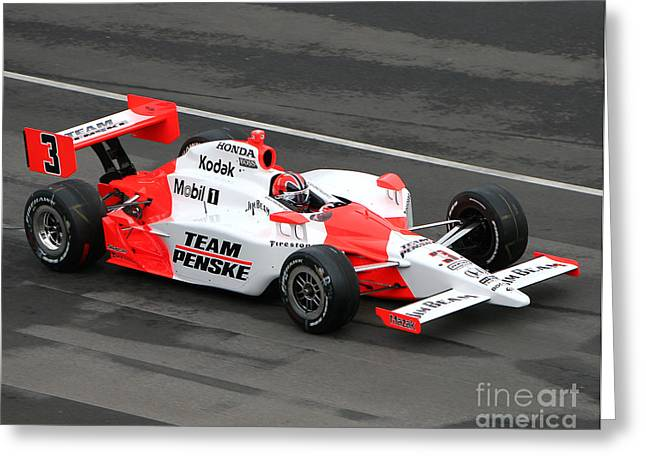 Recently Sold -  - Indy Car Greeting Cards - Helio Castroneves Indy Greeting Card by Bryan Maransky