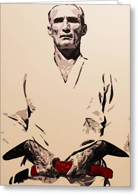 Helio Gracie Greeting Card by Geo Thomson