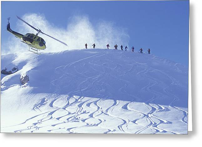Downhill Skiing Greeting Cards - Heliskiing, Whistler, Bc, Canada Greeting Card by Insight Photography