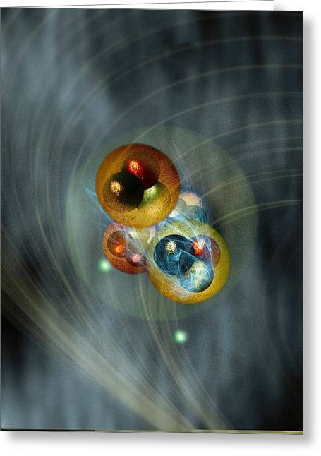Helium Greeting Cards - Helium atom, conceptual model Greeting Card by Science Photo Library