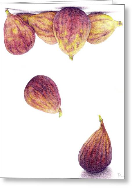 Figs Drawings Greeting Cards - Helium Figs Greeting Card by Paula Pertile