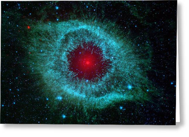 Space Pyrography Greeting Cards - Helix Nebula Spitzer Space Telescope Greeting Card by Nasa