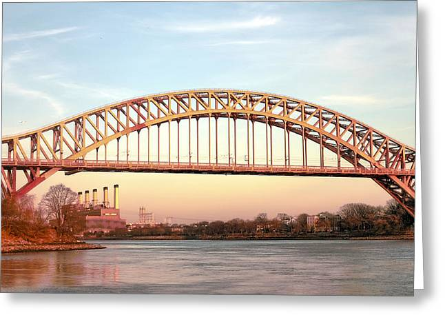 Harlem River Greeting Cards - Hell Gate Bridge Greeting Card by JC Findley
