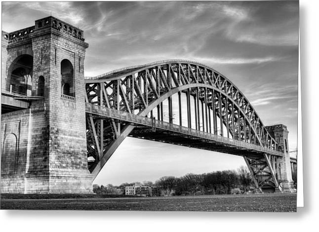 Harlem River Greeting Cards - Hell Gate BW Greeting Card by JC Findley