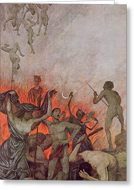 Afterlife Greeting Cards - Hell Greeting Card by Hans Thoma