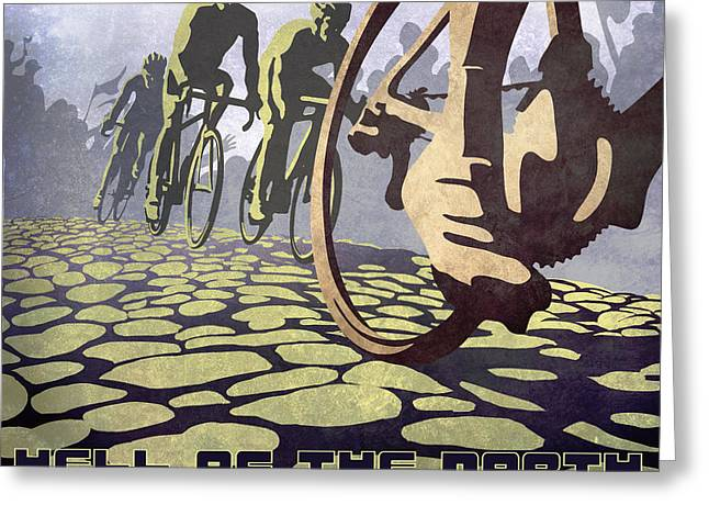 Graphic Greeting Cards - HELL OF THE NORTH retro cycling illustration poster Greeting Card by Sassan Filsoof