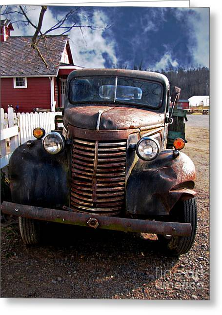 Old Trucks Greeting Cards - Hell on Wheels Greeting Card by Colleen Kammerer