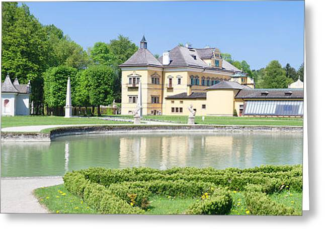 Salzburg Greeting Cards - Hellbrunn Palace And Formal Garden Greeting Card by Panoramic Images