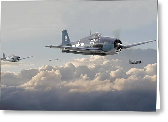 Fighter Aircraft Greeting Cards - Hellcat F6F - Combat Air Patrol Greeting Card by Pat Speirs