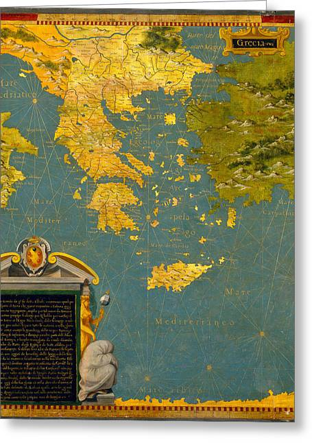 Bulgaria Paintings Greeting Cards - Hellenic peninsula Greece Albania Bosnia and Bulgaria Greeting Card by Stefano Bonsignori
