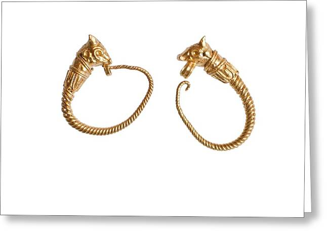Ancient Jewelry Photographs Greeting Cards - Hellenistic gold earrings Greeting Card by Science Photo Library
