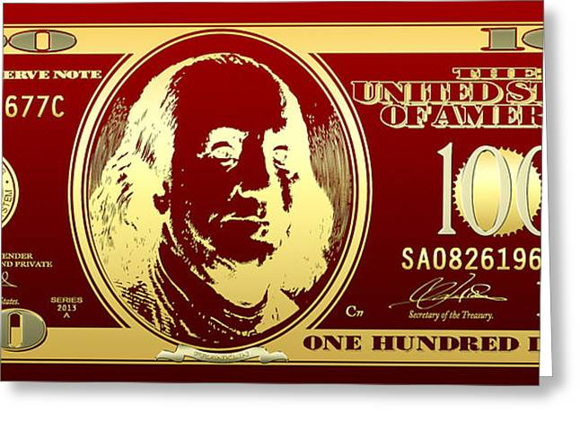 Bling Greeting Cards - Hello Benjamin - Golden One Hundred Dollar US Bill on Red Greeting Card by Serge Averbukh