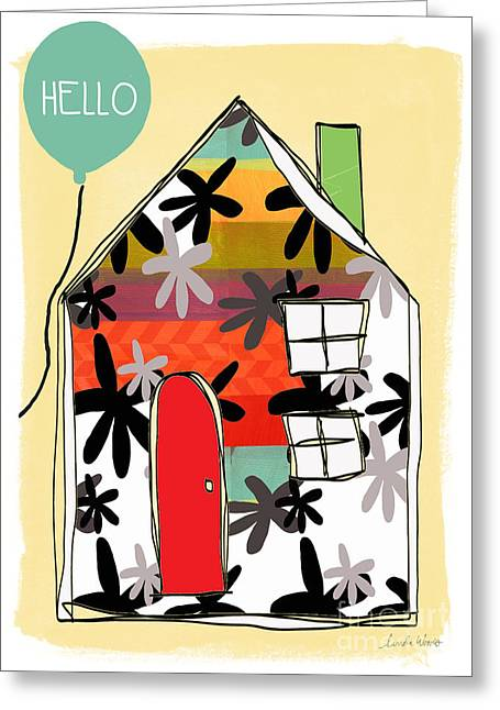 Striped Mixed Media Greeting Cards - Hello Card Greeting Card by Linda Woods