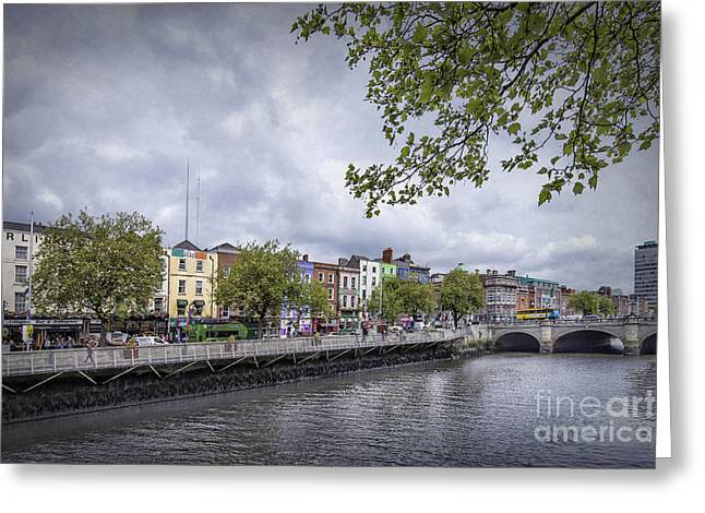 Liffey Greeting Cards - Hello Dublin Greeting Card by Evelina Kremsdorf