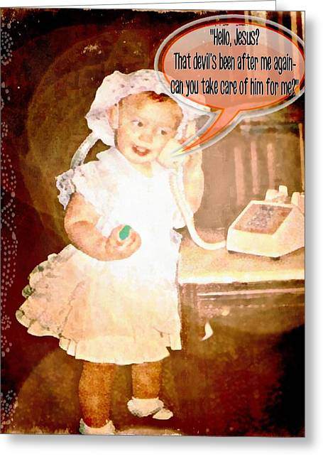 Toddlers Poster Greeting Cards - Hello Jesus Greeting Card by Michelle Greene Wheeler