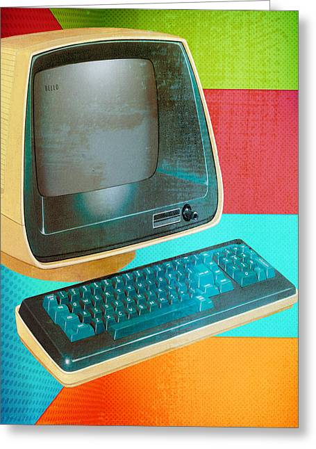 Old Tv Greeting Cards - Hello Letter  Greeting Card by Jerry Cordeiro