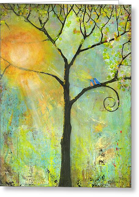 Blue Green Greeting Cards - Hello Sunshine Tree Birds Sun Art Print Greeting Card by Blenda Studio
