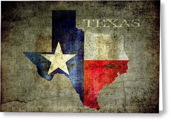 Red White And Blue Digital Greeting Cards - Hello Texas Greeting Card by Daniel Hagerman